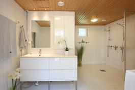 Alakerran kylpyhuoneessa kaksi suihkua