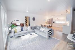 Olohuone, keittiö ja ruokailutila yhtenäistä avaraa ja valoisaa tilaa