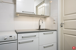 Pyykkikone, peilikaappi, allas ja allaskaappi kylpyhuoneessa.