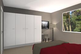 Suuntaa antava kalustekuva makuuhuoneesta (12,6m²)