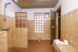 Alakerran saunaosastolla tilava kylpyhuone
