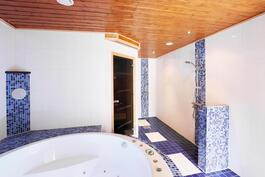 Tilava kylpyhuone jossa on kaksi suihkua ja poreallas