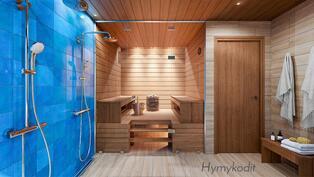 Sauna ja kylpyhuone Riemu-sisustustyylillä.