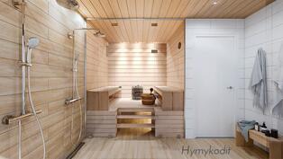 Sauna ja kylpyhuone Rauha-sisustustyylillä.