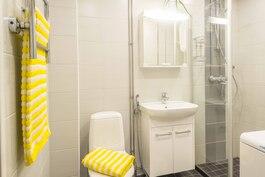 Raikas, täysin remontoitu kylpyhuone, jossa tilaa myös pesukoneelle.