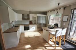 yhdistetty olohuone ja keittiö