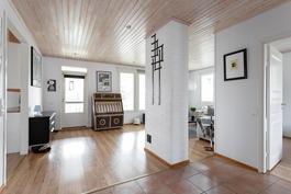 Olohuoneesta käynti talonlevyiselle parvekkeelle