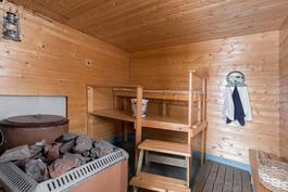Piharakennuksen sauna. Sisäpiippu puuttuu, joten kiuasta eikä vesipataa ei ole asennettu.