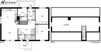 Pohjakuva viitteellinen, yläkerrassa 2 huonetta, wc, vaatehuone.
