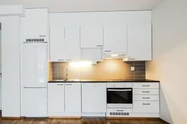 Liesitaso ja erillisuuni, astianpesukone, jääkaappi-pakastin
