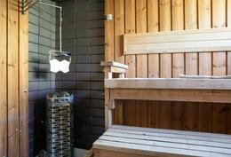 Sauna, jossa vasta uusittu loistava kiuas.