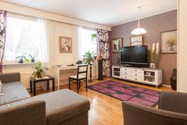 Alakerran iso makuuhuone joka toimii myös televisiohuoneena.