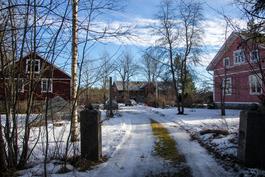 Pihapiirissä on talo, vanha navetta, iso varastorakennus sekä eläinsuoja