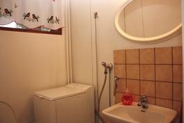 Erillisessä wc:ssä pesukoneliitäntä