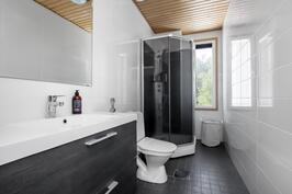 Yläkerran wc-tilassa myös suihku