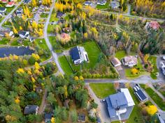 Myytävä talo kuvassa keskellä