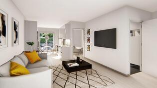 Havainnekuva 45 m² huoneistosta