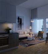 Visualisointikuvassa taiteilijan näkemys asunnosta A31, jossa avara 3,6 metrin huonekorkeus