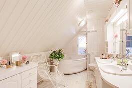 Yläkerran kylpyhuone porealtaalla ja kahdella pesualtaalla.