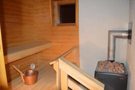 Huoneiston sauna, jossa puukiuas