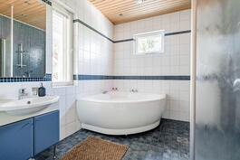 Kylpyhuoneessa poreamme nautiskeluun