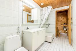 Kylpyhuone ja sauna (kodinhoitotilat ei näy kuvassa)
