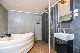 Kylpyhuoneen pinnat ovat tyylikkäät.