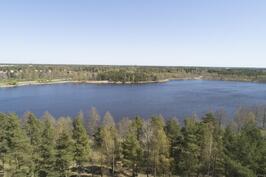 Hakametsässä on järvi lähellä - tien toisella puolla.