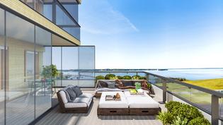 Visualisointikuvassa taiteilijan näkemys asunnon A38 kattoterassista