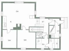Alakrta, yläkerrassa kaksi makuuhuonetta
