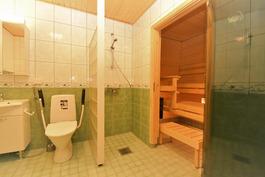 Suihkuseinä suojaa wc:tä ja kuivenmaa puolta