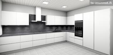 Keittiökalusteiden havainnekuva, värivaihtoehto valkoinen