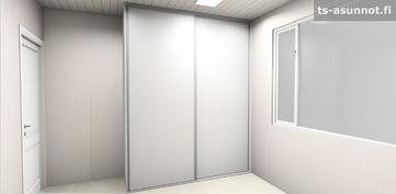 Pienempien makuuhuoneiden kalusteiden havainnekuva, värivaihtoehto valkoinen