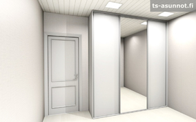Päämakuuhuoneen kalusteiden havainnekuva, värivaihtoehto valkoinen
