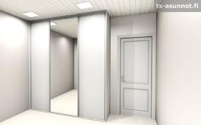 Päämakuuhuoneen liukuovikaapiston havainnekuva, värivaihtoehto valkoinen