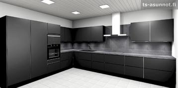 Keittiökalusteiden havainnekuva, värivaihtoehto musta