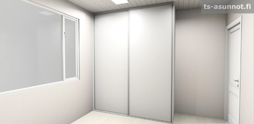 Pienempien makuuhuoneiden liukuovikaapiston havainnekuva, värivaihtoehto valkoinen