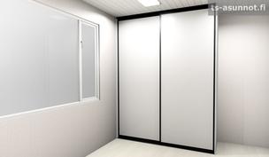 Pienempien makuuhuoneiden liukuovikaapiston havainnekuva, värivaihtoehto musta