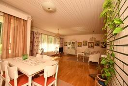 Eteisaulasta näkymä olohuoneeseen ja olohuoneen ikkunoista näkymä terassille ja puutarhaan