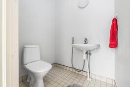Kodinhoitohuoneesta pääsee käteästi vessaan.