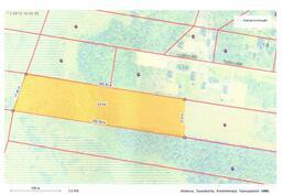 Myytävä määräala keltaisella pohjalla, lopullinen koko rajat lohkomis toimituksessa