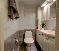 WC on laatoitettu kauniin vaaleasävyiseksi.