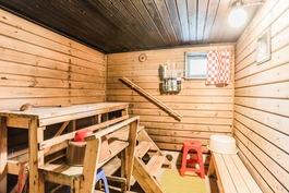 Sauna on kellarissa