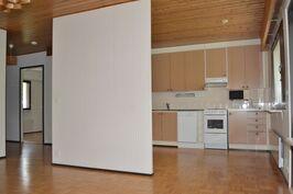 Näkymä olohuoneesta, taustalla keittiö ja eteinen