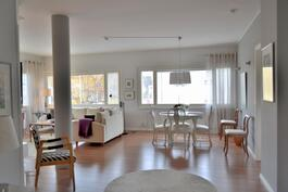 Suurimman huoneiston ruokailutila ja olohuone
