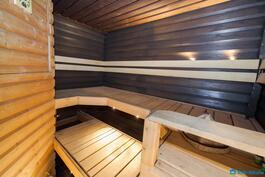 Sauna jossa mm. puukiuas ja jääkaappi