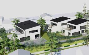 A2 talo alimpana ja kahden talon rakennuspaikat ylempänä