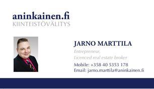 Myynti ja lisätiedot Jarno Marttila 040 5353 178 / jarno.marttila@aninkainen.fi