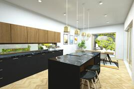 havainnekuva keittiöstä talo D