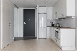 Yhtenäinen olohuone-keittiö on tämän kodin viihtyisä keskus